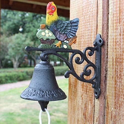 ヴィンテージ装飾レトロドアベル装飾ペンダント田舎の鋳鉄ドアベルハンドベルベル錬鉄製の中庭の壁の装飾ドアベル17x8x17cm