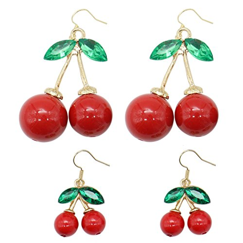 Buorsa 2 Pairs Gold Plated Red cherry Charm& Green Crystal Leaf Women Hook Dangle Drop Earrings(2 Size)