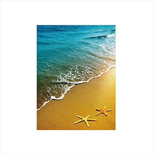 Scene Decor Beach - Decorative Privacy Window Film/Tropical Island Beach Caribbean Atlantic Ocean Scenery Artwork Print/No-Glue Self Static Cling for Home Bedroom Bathroom Kitchen Office Decor Pale Blue and Marigold