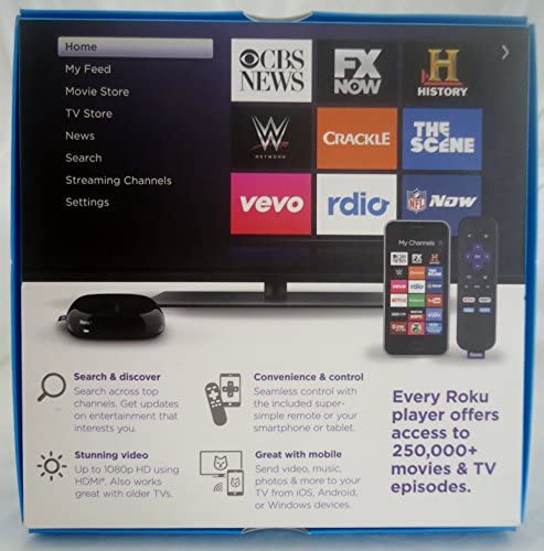 Roku 1 Streaming Player (Black) (Roku 2710RW) Special VUDU Edition with $5 VUDU credit score