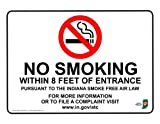 ComplianceSigns Vinyl Indiana No Smoking X Feet Label, 5 x 3.5 with English, 4-Pack White