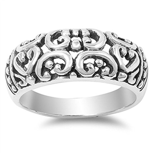 Oxidized Filigree Heart Bali Cocktail Ring .925 Sterling Silver Band Size 8 ()