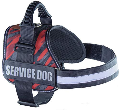 ALBCORP Service Dog Vest Harness - Reflective - Woven Nylon, Adjustable Service Animal Jacket, with 2 Hook and Loop Removable Patches, Medium, Red Camo