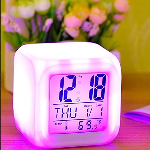 Jeval Plastic Digital Alarm Clock with Date Time and Temperature (White_9 x 9 x 9 cm)