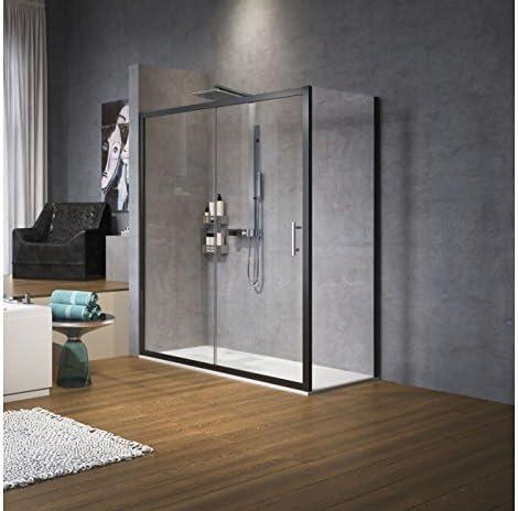 Zephyros 2P: 1 puerta corredera + 1 fija (Alineamiento Novellini 96 de 172 cm – negro mate – serigrafía Zephyros 1 – 114 – 120 cm: Amazon.es: Bricolaje y herramientas