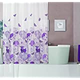 Dainty Home 13-Piece Garden Containing Shower Curtain and 12 Metal Hooks Set, Purple