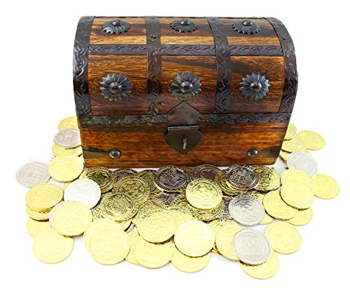 Gold Silver Coin (Well Pack Box Pirate Treasure Coins - 32 Metal Gold And Silver Doubloons Coins PLUS Large Wood Treasure Chest)