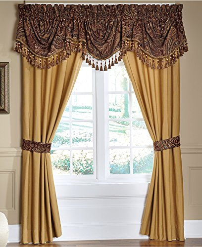 Croscill Regalia Pole-Top Window Drapery Curtain Panel Set,Gold, 82
