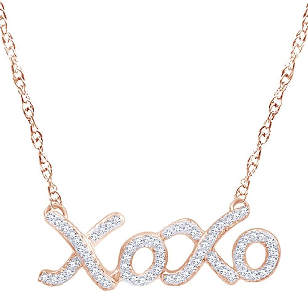 1//5 CT Wishrocks Round Cut Diamond XOXO Necklace in 14K Gold Over Sterling Silver
