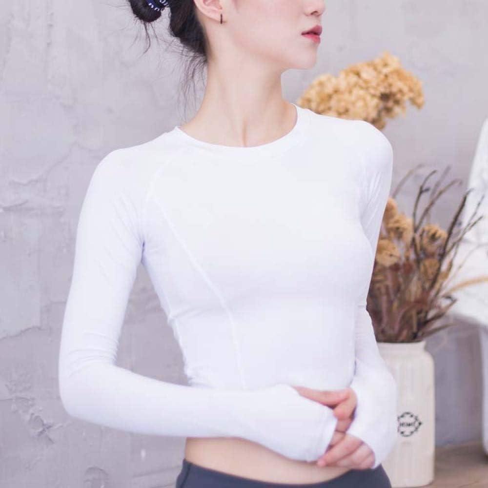 FACAI Blusa De Manga Larga Slim Fit para Mujer Ropa Deportiva Malla De Empalme Ropa De Fitness Delgada Camisa Transpirable Ropa De Yoga Mujer,White-L
