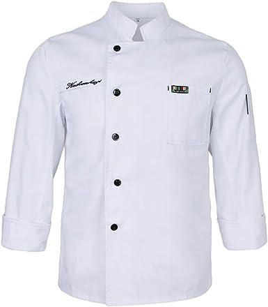 IPOTCH Chaqueta de Chefs Ropa de Cocinero Camareros Caterings Confortable Suave Tacto Relajante Blanco: Amazon.es: Ropa y accesorios