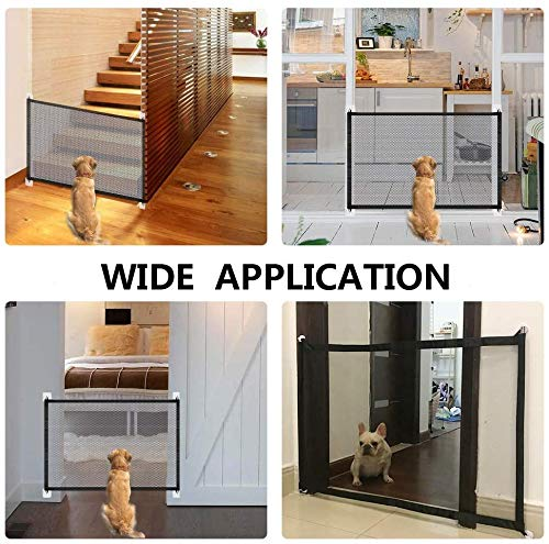 Upgraded Magic Gate for Dogs, Pet Safety Gate with Strong 3M Hooks, Mesh Dog Gate Portable Folding Safe Guard Install Anywhere-41\