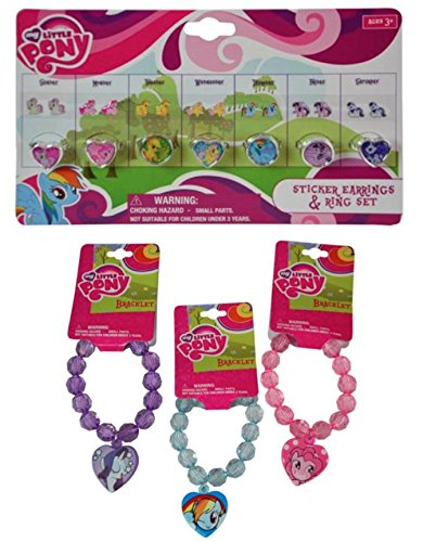SugarBox My Little Pony 3 pc Bracelet and 7 Day Earring/Ring Set - Perfect for DRESS UP FUN! (Includes: Pinkie Pie, Twilight Sparkle and Rainbow (Beaded Pie)