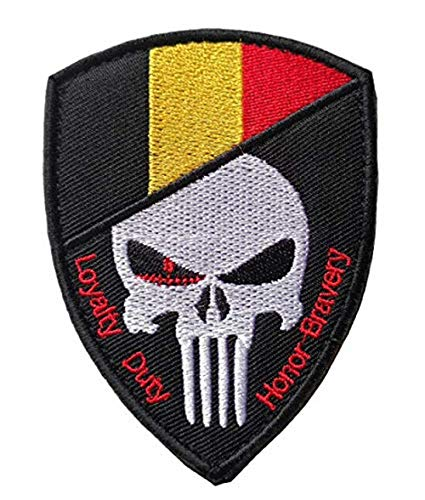 - Belgium Flag & Punisher Skull Military Patch Fabric Embroidered Badges Patch Tactical Stickers for Clothes with Hook & Loop(HNQN)