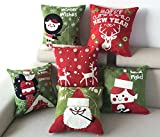 Embroidery Christmas Pillow Covers, Set of 6 Throw Pillow Cases 18 Inch x 18 Inch for Home Bed Sofa Car Decorative
