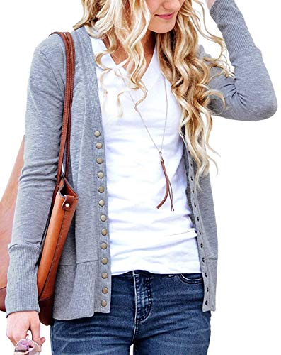 Gray Long Sleeve Sweater - Basic Faith Women's V-Neck Solid Button Tops Long Sleeve Knit Casual Cardigans Gray 2XL