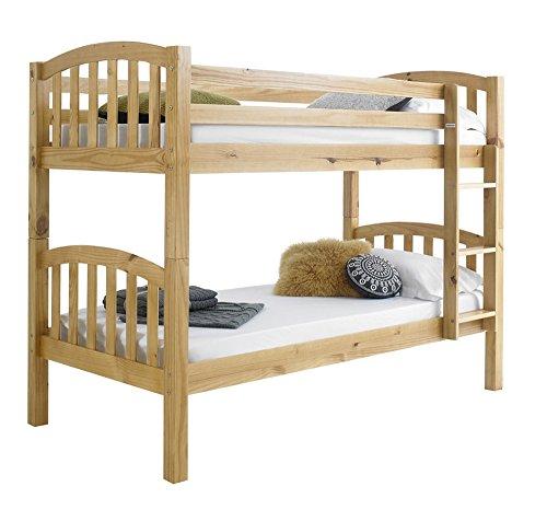 Happy Beds American Solid Honey Pine Wooden Bunk Bed 2x Orthopaedic Mattress Bedroom