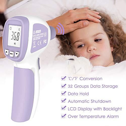 Termómetro de Fiebre, Termómetro Infrarrojo Digital Profesional sin Contacto, con Alarma de Fiebre, Lecturas Precisas Instantáneas, para Bebés, Niños, Adultos 3