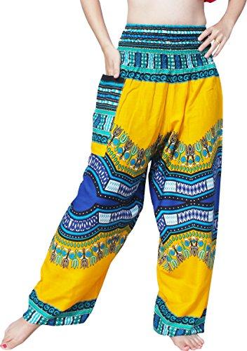 Full Funk Rayon Smock Waist Harem Pants Pocket Straight Mixed Dashiki Pattern, Large, Pattern B Yellow