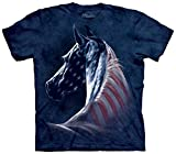 Mountain Patriotic Horse Adult Size T-shirt , Blue , XX-Large