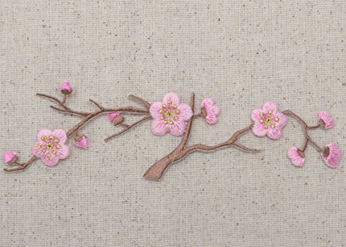 Cherry Blossom - Pink Flowers - Brown Stem - LARGE - Iron on Applique - Embroidered Patch
