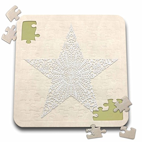 Andrea Lace - 3dRose Andrea Haase Art Illustration - White Lace Star On Beige Surface - 10x10 Inch Puzzle (pzl_271221_2)