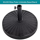 Sundale Outdoor 20.47'' Bliss Wicker Resin Black Patio Umbrella Base Metal Heavy Duty Stand, 60LBS Weight