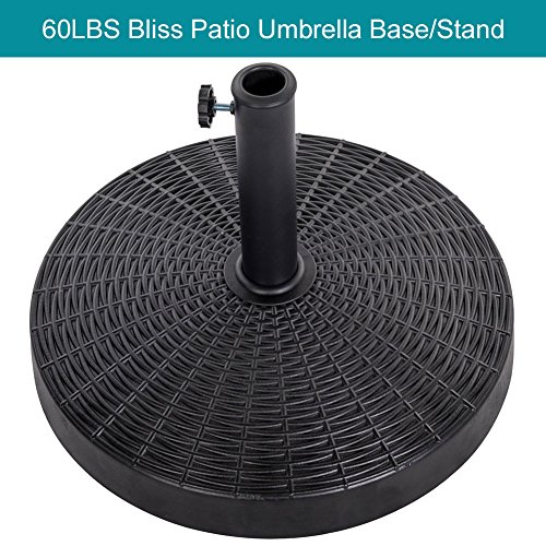 Sundale Outdoor 20.47'' Bliss Wicker Resin Black Patio Umbrella Base Metal Heavy Duty Stand, 60LBS Weight ()