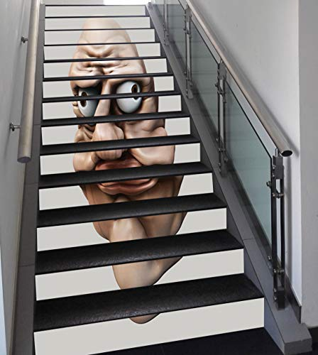 Stair Stickers Wall Stickers,13 PCS Self-Adhesive,Humor,Grumpy Internet Troll Face with Trippy Gestures Ugly Post Meme Joke Image Decorative,Egg Shell and Tan,Stair Riser Decal for Living Room, Hall, ()