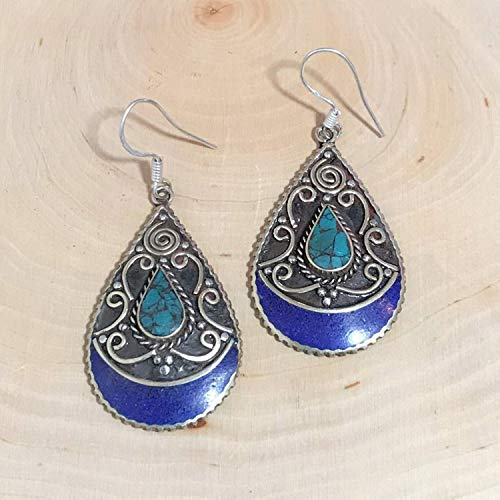 (Sivalya Bohemian Style Fashion Statement Earrings with Turquoise and Lapis Lazuli Inlay Silver Plated Jewelry for Women)