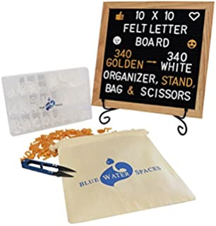 Changeable Felt Letter Board with 680 Letters, Numbers and Symbols, 10x10 inches, Wood