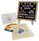 Changeable Felt Letter Board with 680 Letters, Numbers and Symbols, 10x10 inches, Wood Frame Message Sign, Oak Frame, Wall Mount Hook, Iron Stand, Letter Organizer, and Scissors by Blue Water Spaces