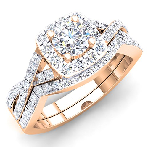 1.80 Carat (ctw) 10K Rose Gold Round Cubic Zirconia CZ Bridal Halo Engagement Ring Set (Size 6) (Engagement Ring Gold Rose Settings)