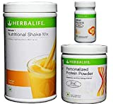Herbalife Weight Loss Program Kit - Natural Organic Diet Meal Replacement Package for Men and Women - Nutritional Formula 1 Shake Mango - Herbal Protein Powder  - Afresh Energy Drink Mix Lemon