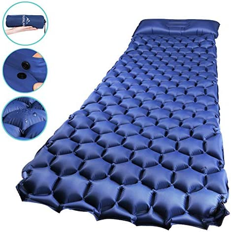 SUPALAK Sleeping Pad, Ultralight Inflatable Sleep Pads for Camping Backpacking with Pillow Compact Air Mat Portable Lightweight Mattress for Hiking Hunting Traveling Fishing Biking Blue