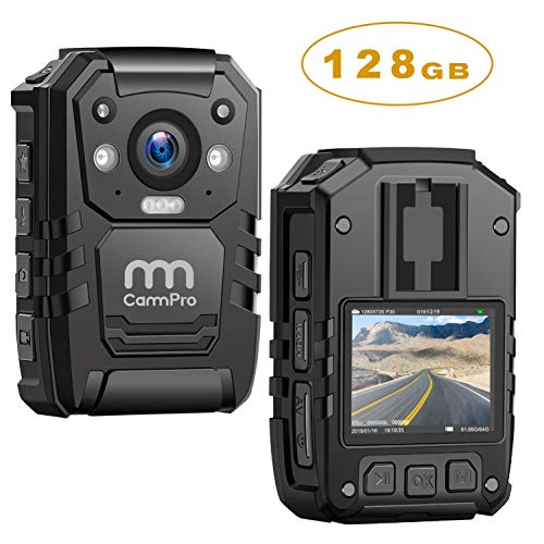 1296P HD Police Body Camera,128G Memory,CammPro Premium Portable Body Camera,Waterproof Body-Worn Camera with 2 Inch Display,Night Vision,GPS for Law Enforcement Recorder,Security Guards,Personal Use