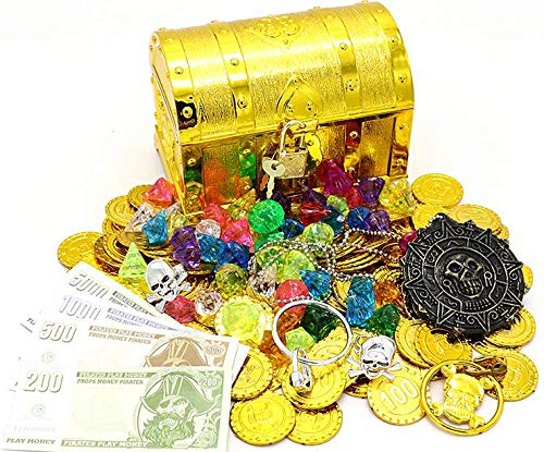 Kids Pirate Treasure Chest Toy Box Gold Color with Lock for Party Favors Props Decoration/Pirate Treasure Chest for Kids(100Pcs Plastic Gold Coins+100g Gems+2Earrings+2Rings+16Paper Cash+1Necklace)
