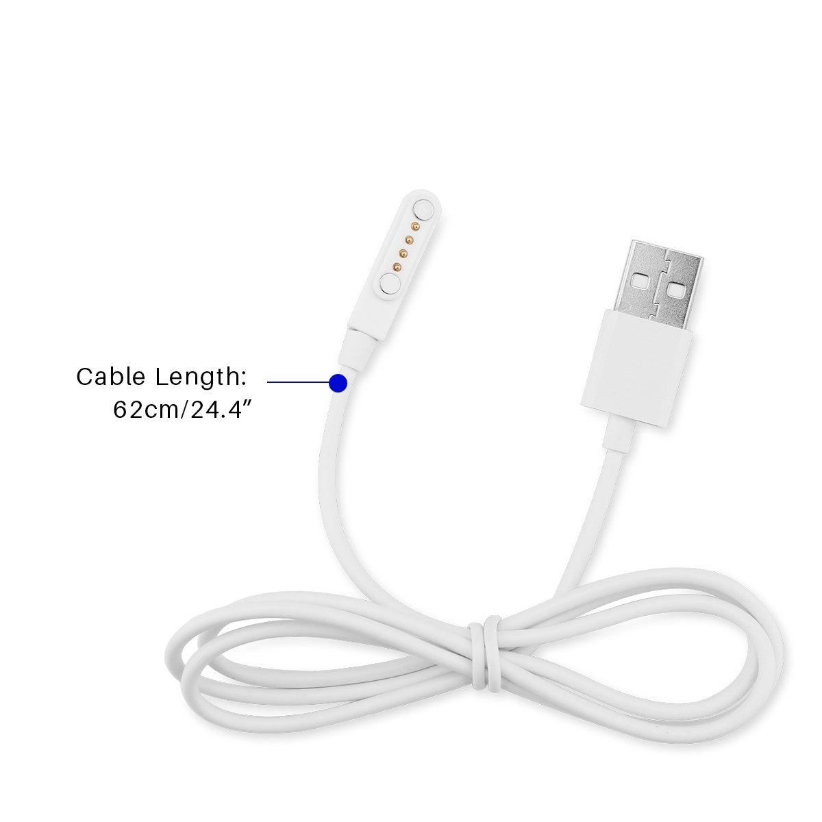 Sunsbell USB 2.0 Macho a 4 Pines pogo por Cable, Cargador de Reloj magnético USB, Cable de Carga para Smart Reloj GT88, GT68, KW08, KW18, KW88, KW98, ...