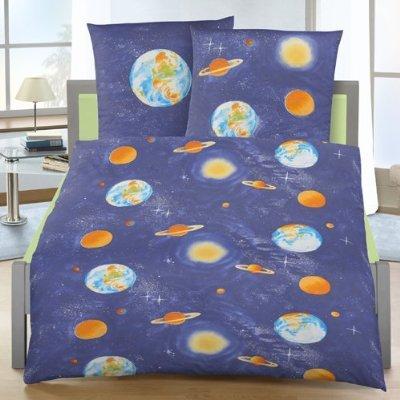 Biber Bettwäsche Planeten 135x200 Cm Kinderbettwäsche Erde Weltall