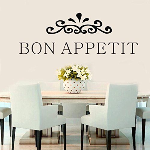 Chouron English Word Art Sayings Bon Appetit Wall Decal Quotes Sticker for Kitchen Tile Cabinet Restaurant Window Dining Room Living Room Porch -