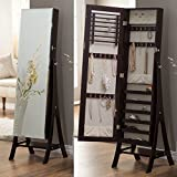 Belham Living Large Standing Mirror Locking Cheval Jewelry Armoire - Espresso