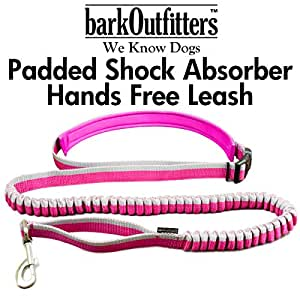 barkOutfitters Hands Free Dog Jogging Running Hiking Walking Leash - Run Hands-Free with this Sporty Adjustable Belt - Has Multiple Zippered Pockets - Attach your Favorite Leash to this Belt (Pink)