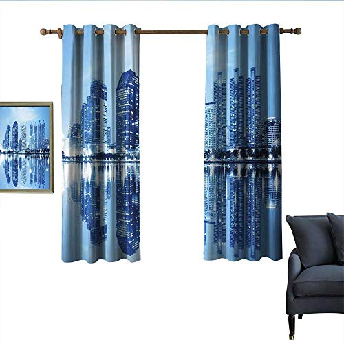 longbuyer Blue Blackout Curtains Night Scene of City Buildings Architecture Twilight Water Reflection Metropolitan Home Garden Bedroom Outdoor Indoor Wall Decorations 63