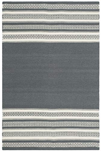 Safavieh Dhurries Collection DHU601D Hand Woven Dark Grey Premium Wool Area Rug 4 x 6