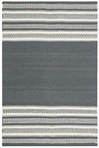 Safavieh Dhurries Collection DHU601D Hand Woven Dark Grey Premium Wool Area Rug 4 x 6