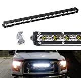 iJDMTOY Behind Grille Mount 20-Inch LED Ultra Slim Light Bar Kit For 2015-17 Ford F150, Includes (1) 54W High Power LED Lightbar & Inside Grill Area Mounting Brackets