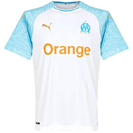 the latest 22ef6 04f79 Amazon.com   PUMA Marseille 2018 19 Short Sleeve Home Jersey - Adult  White Bleu Azur - X-Large   Sports   Outdoors