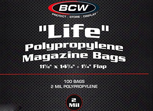 200 BCW Life Magazine Size Poly Bags and Backer Boards