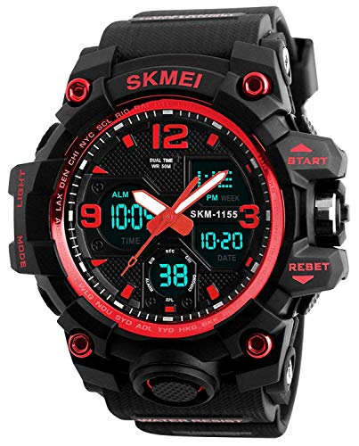 Men's Analog Digital Waterproof Sports Watch Military Multifunction Dual Time Stopwatch Alarm Back Light 50M Water Resistant Watch (Red)