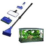 Aisige 5Pcs/set Aquarium Tank Cleaning Kit Fish Net Gravel Rake Algae Scraper Fork Sponge Brush Glass Aquatic Cleaning Tools